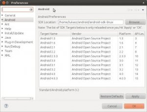 eclipse - android sdk linux